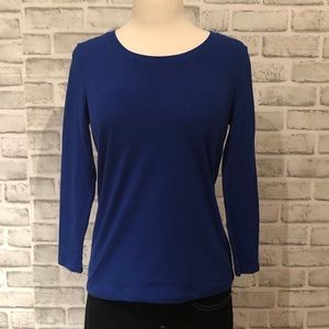 Rafaella Long Sleeve Stretch Shirt Top Blue XSP